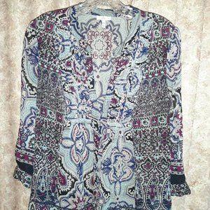 Joie Medium blouse in blue, grey, dk berry colors